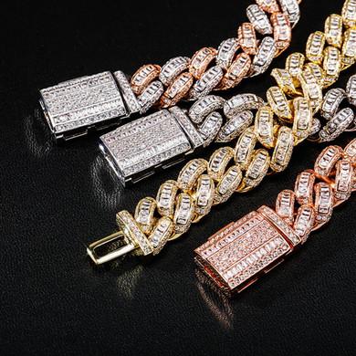 Mens 16mm True Luxury Baguette Boss Baller 14k White Yellow Rose Gold Bling Bracelets