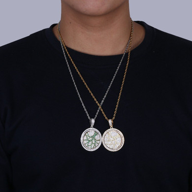 Flooded Ice Tree of Life Rotating Center Piece Hip Hop Pendant Bling Chain Necklace