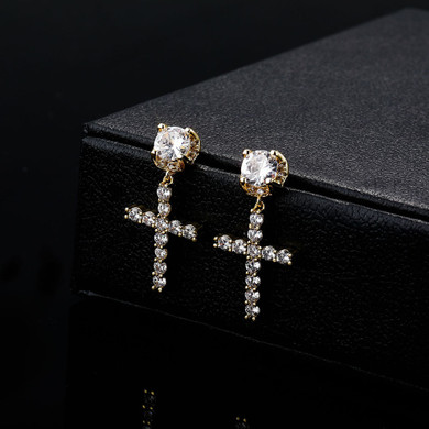 Ladies High Quality Ladies 14k White Yellow Gold Center Stone Bling Cross Drop Earrings