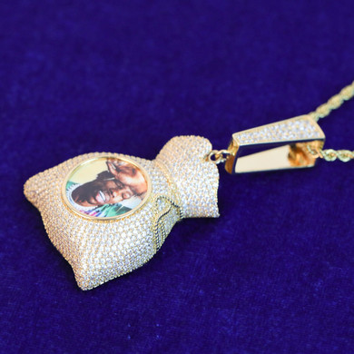 Custom Photo White Yellow Rose Gold Money Bag Flooded Ice Pendant Chain Necklace