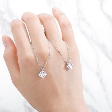Ladies Bling Lab Diamond 1-2 ct Asscher Cut D Color Moissanite 925 Sterling Silver Fine Jewelry Necklace