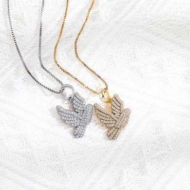 Ladies .925 Sterling Silver Spiritual Peace Dove Impression 3A Simulate Diamond Stone Necklace
