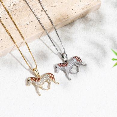 Ladies Fine Jewelry 3A Simulate Diamond .925 Sterling Silver Horse Pendant