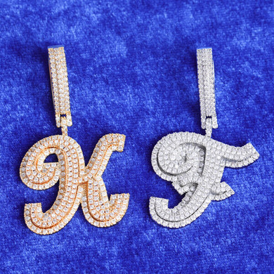 24k Yellow Gold 925 Silver 3A True Micro Pave Print Initial Letters Bling Pendants