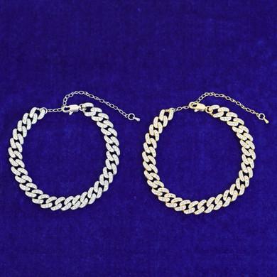 Ladies 24k Gold 925 Silver Cluster Stone Cuban Link Anklet Ankle Bracelet