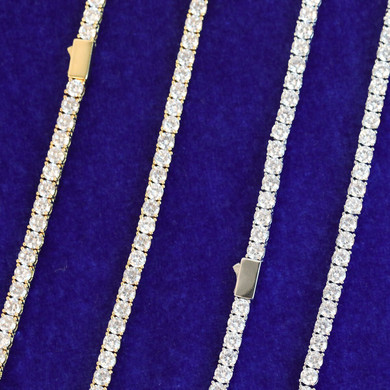 24k .925 Silver Rose Gold 5A Simulate Diamond Spring Clasp 3mm-6mm Bling Tennis Chain Necklace