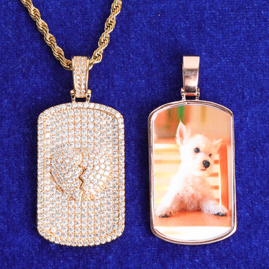 5A Stone Don't Break My Heart Photo Picture Bling Pendant Chain Necklace