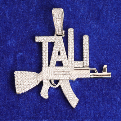 24k 925 Silver Rose Gold Chopper City 5A Stone Flooded Ice Micro Pave Ak47 Hip Hop Pendant Chain Necklace