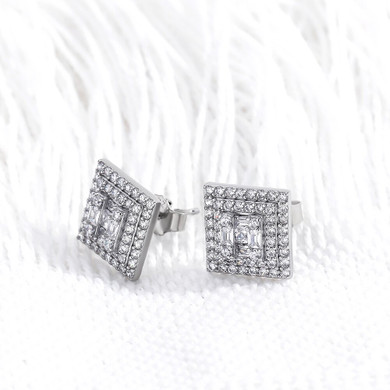 Iced Baguette .925 Solid Sterling Silver Hip Hop Square Cut Earrings