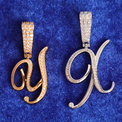 24k Gold .925 Silver 5A Simulate Diamond Cursive Letter Bling Bling Chain Necklace