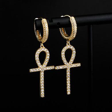 925 Sterling Silver over 14k Gold Original Ankh Cross Huggie Style Bling Earrings