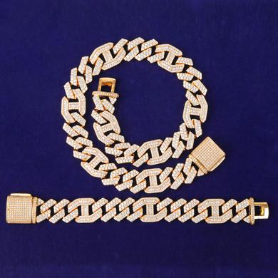 18mm White Yellow Gold Designer Cut Cuban Link Chains Bracelet Jewelry Set Combo