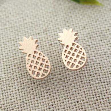Ladies Sweet 14k Gold Pineapple Boho Stainless Steel Fashion Jewelry Earrings