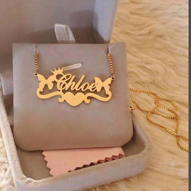 Ladies Stainless Steel Crown Heart Butterfly Custom Name Letter Jewelry Necklace