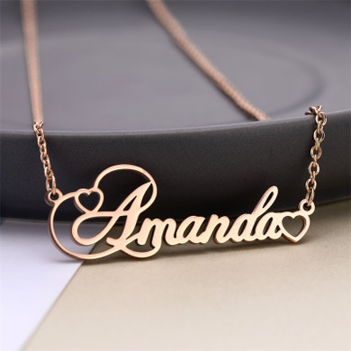 Ladies High Fashion Personality Custom Cursive Heart Stainless Steel Necklace