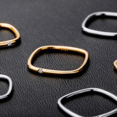 Ladies Street Wear Fashion .925 Silver Square Simulate Diamond Bling Rings