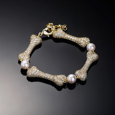 Ladies New Bone & Pearl Simulate Diamond Bling Street Wear Bracelet