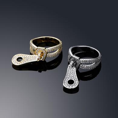 Flooded Ice 3A Simulate Diamond Street Wear Fashion Bling Zipper Rings