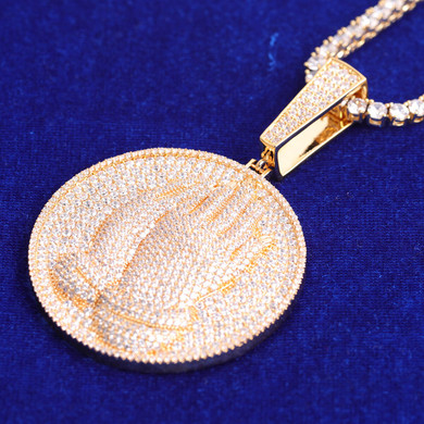 Yellow White Rose Gold 5A Prayer Hands Hip Hop Iced Medallion Pendant Chain Necklace
