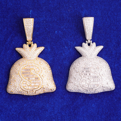 Big Boy Secure Bag Cash Money Dollar Sign Hip Hop Baguette Pendant Chain Necklace
