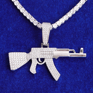 White Yellow Gold Chopper City Flooded Ice Ak 47 Hip Hop Pendant Chain Necklace