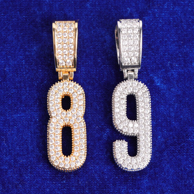 Street Wear Jewelry Flooded Ice 24k Yellow 14k White Gold Hip Hop Number Chain Necklace