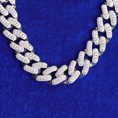 18mm Yellow White Gold Thick Cut Crushed Iced Buckle Miami Cuban Link Chain Necklace