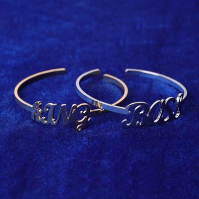 Custom Stainless Steel Street Wear Bangle Cursive Letter Personalized Bracelets