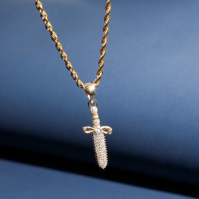 Solid .925 Sterling Silver Ancient Dagger Cross Bling Pendant Chain Necklace