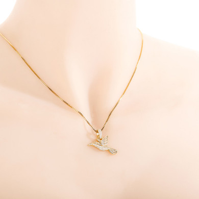 14k Gold over 925 Solid Sterling Silver Hummingbird Fine Jewelry Pendant Chain Necklace