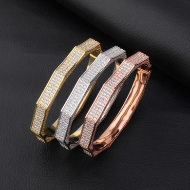 14k White Yellow Rose Gold Flooded Ice Show Stopper Hip Hop 5A Micro Pave Stone Bracelet