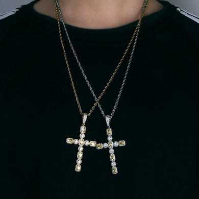 5A Solitaire Canary Stone Flooded Ice Cross Hip Hop Pendant Chain Necklace