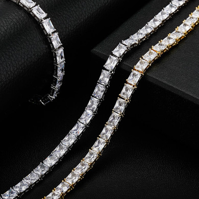 Flooded Ice Spring Clasp 6mm Street Wear Baguette Hip Hop Chain Necklace