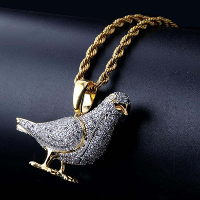 Flooded Ice Got Dem Birds Hip Hop Pigeon Bling Pendant Chain Necklace