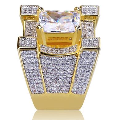 Iced Luxury Baller Centerstone Hip Hop 14k Gold Flooded Ice Ring