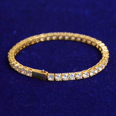 3mm - 6mm Flooded Ice Spring Clasp 24k Yellow 14k White Gold Tennis Bracelets