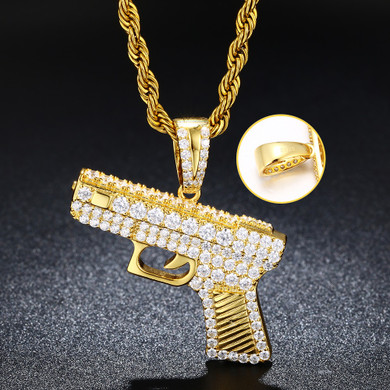 .925 Sterling Silver over 14k Gold Flooded Ice Pistol Gun Hip Hip Pendant