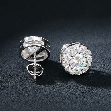 Flooded Ice Genuine Lab Diamond Round Solid Sterling Silver Boss Life Hip Hop Earrings
