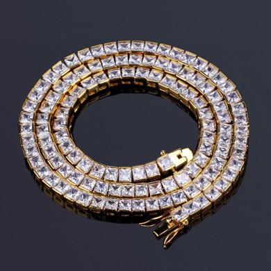 Men's Flooded Ice 6mm Boss Life Princess Cut Hip Hop Tennis Chain Necklace