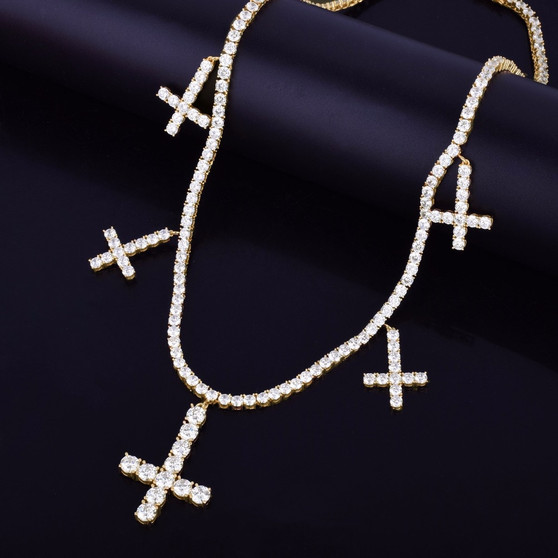 18k Gold .925 Silver AAA True Micro Pave Flooded Ice Upside Down Peter Cross Stone Chain Necklace