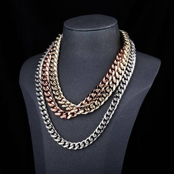 Classic Iced Gold Silver Rose Gold Hip Hop Miami Cuban Link Bling Chain Necklace