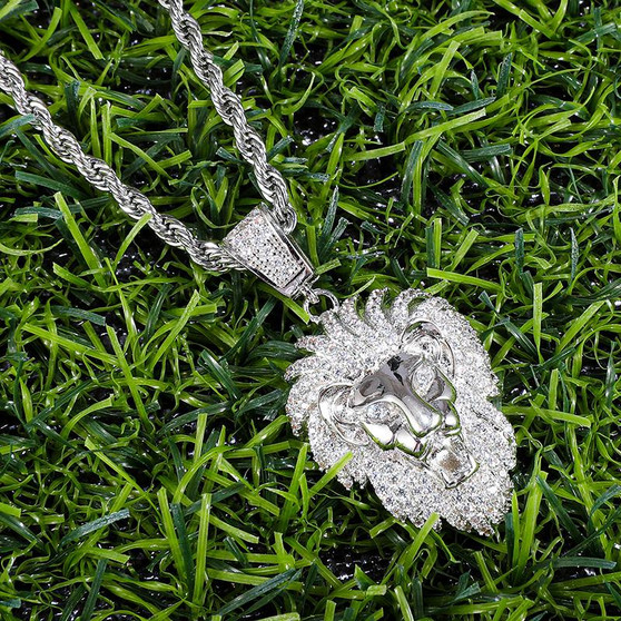 Heart of A Lion Flooded Ice 14k Gold 925 Silver Hip Hop Pendant Chain Necklace