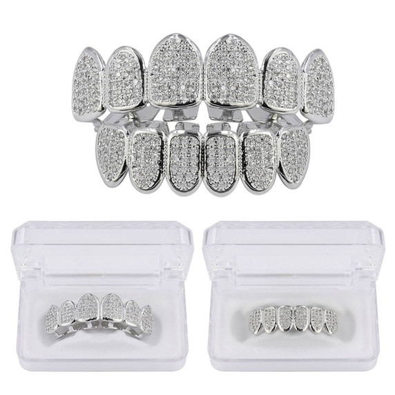 Classic 6 Tooth Teeth Micro Pave Iced Grillz Set Gold Silver Teeth Grillz Top Bottom