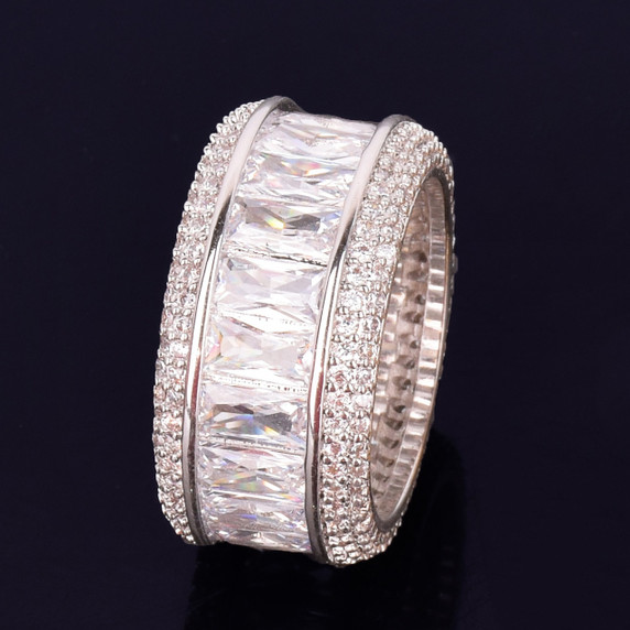 .925 Silver Ultra Ice Baguette Stone Flooded Ice Rings