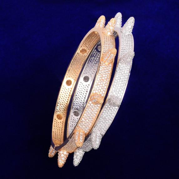 Micro Paved AAA Simulated Diamond Stone Rivet Spike Open Cuff Bangle Bracelet