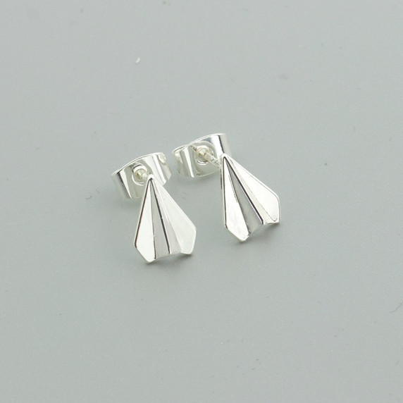 Stainless Steel Origami Paper Plane Fashion Stud Earrings