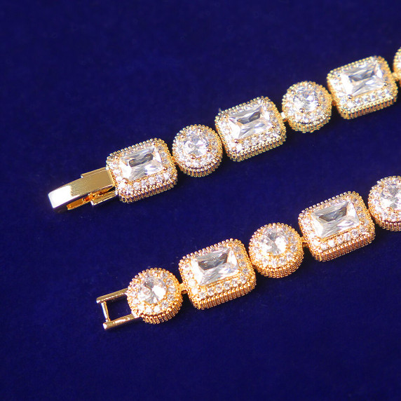 Flooded Ice Yellow White Rose Gold Hip Hop 5A Bling Stone Street Wear Bracelets