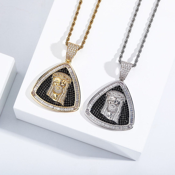 Hip Hop New Flooded Ice Jesus Piece Baguette Bling Chain Necklace