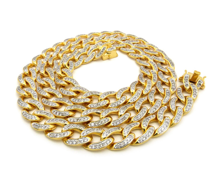14mm Simulated Diamond Cuban Link Hip Hop Chain Necklace
