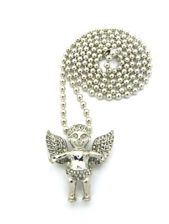 Silver Bling Angel Pendant